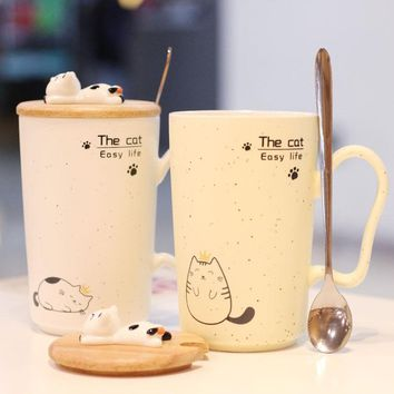 Impression Papa Cat Ceramic Cup/Mug with Spoon and Lid 3 Styles