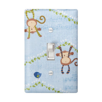 Monkey Light Switch Plate Cover / Jungle Theme Nursery / Light Blue Children Kids Room / Bathroom / Green Brown and White