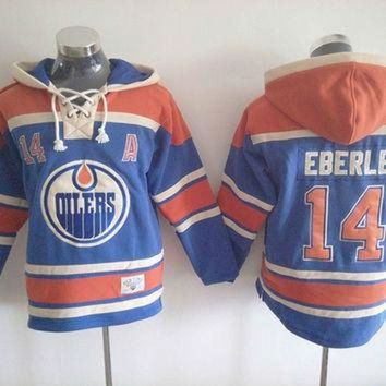 VONR3I Edmonton Oilers Mens Ice Hockey Hoodies #14 Jordan Eberle Blue Mens Ice Hockey Jersey