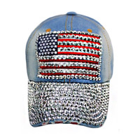 """Patriotic Me"" Red White and Blue ""Bling"" American Flag Light Denim Hat"