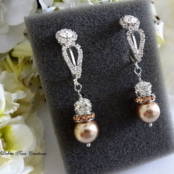 Swarovski Champagne Bronze Pearl Crystal Long Earrings Champagne Bronze Wedding Bridal Bridesmaid Jewelry Mother of Bride Groom Earrings Set