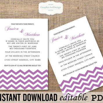 """Editable PDF """"Radiant Orchid"""" """"Chevron Wedding"""" Invitation Template Printable - Editable PDF Text (Fonts, Colors, Size) - Instant Download"""