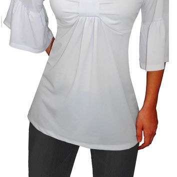Funfash Plus Size White Top Empire Waist Bell Sleeves Women's Top Shirt