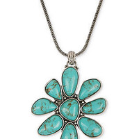 Lucky Brand Necklace, Silver-Tone Turquoise Stone Floral Pendant Necklace - Fashion Necklaces - Jewelry & Watches - Macy's