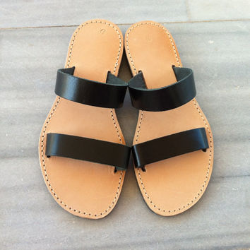 black leather sandal, women sandals, flat sandals black, strap sandal