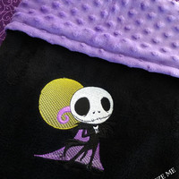 Jack SkeLLinGToN NiGHTMaRe Before ChRiSTmAS BABY BLANKeT MiNKY EMBROiDERED PERSONALiZED Matching PILLOW avail Designs by Sugarbear IN SToCK!