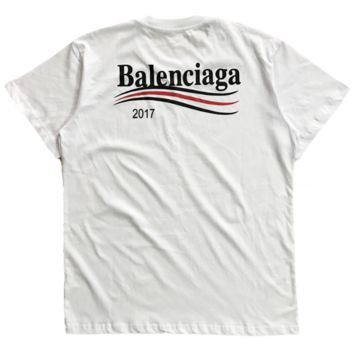 Balenciaga popular logo wave cola letter printed T-shirt for men and women casual short sleeves