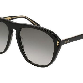 PEAPON3F GUCCI GG0128S 007 Black Acetate Aviator Men's Sunglasses
