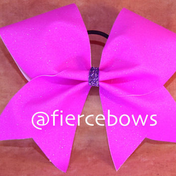 Neon Purple Glitter Cheer Bow