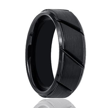 Aydins Tungsten Mens Wedding Band Black Brushed w/ Diagonal Grooves 8mm Tungsten Carbide Ring