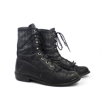 Roper Boots Vintage 1980s Laredo Leather Black Granny Lace up Packer Women's size 7 1/2 M