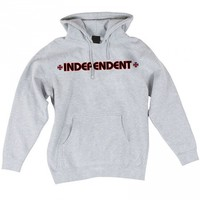 Independent Bar/Cross Pullover Hoodie - Grey Heather