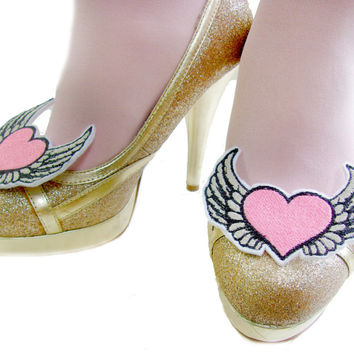 Pink & Silver Winged Heart Shoe Clips