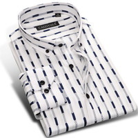 Men's Slim Fit  Long Sleeve Button Down Striped Dress Shirt 100% Cotton Comfort Soft Wrinkle Casual Shirts