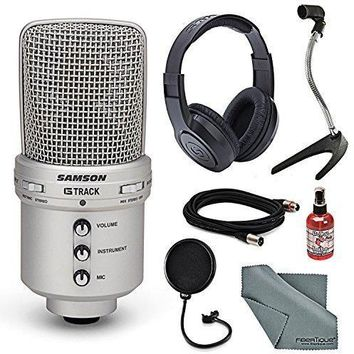 Samson G-Track USB Recording Microphone Bundle with Headphones + Pop Filter + Sanitizer + Many More