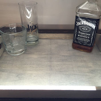 Grey Coffee Table Tray, Bar Tray, Ottoman Tray