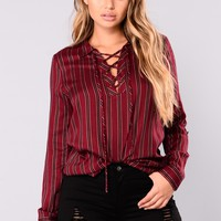 Renee Lace Up Top - Burgundy