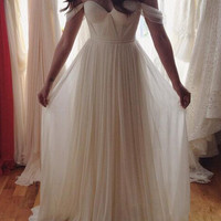 Of Shoulder A-Line White Prom Dresses,Evening Dresses