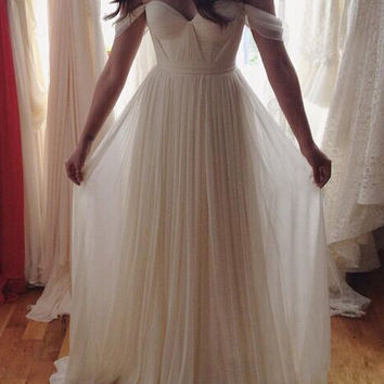White Chiffon Simple A-Line Prom Dresses