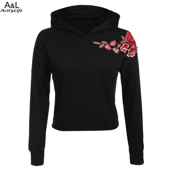FANALA Floral Embroidery Hoodies  Casual Black Hooded Sweatshirt  Pullovers