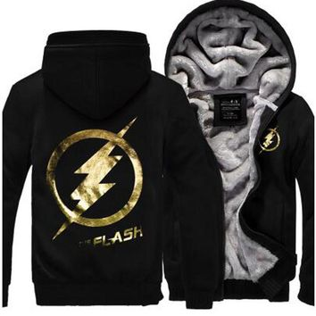 New Fashion Autumn Winter Jackets and Coats The Flash hoodie Anime Justice League Hooded Thick Zipper Men cardigan Sweatshirts