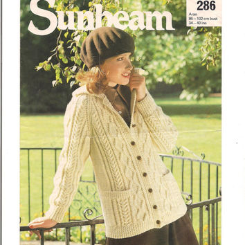 Sunbeam Long Line Aran Jacket Knitting Pattern