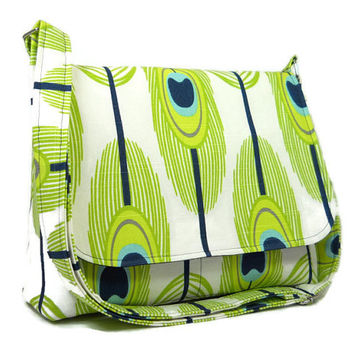 Women's Messenger Bag, Purse, Crossbody Bag, Fabric Pocketbook, Shoulder Bag - Green Feather Print - Adjustable Strap, Ready to Ship