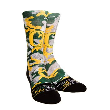 Rock 'Em Elite, Oregon Ducks Armored Camo, Licensed Crew Socks