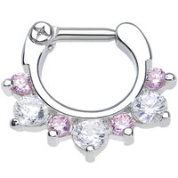 """14 Gauge 1/4"""" Seven Pink and Clear Cubic Zirconia Septum Clicker 