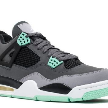 Ready Stock Nike Air Jordan 4 Retro Dark Grey Green Glow Cmnt Basketball Sport Shoes