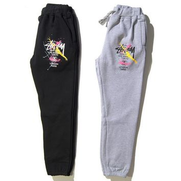 Stussy World tour 7 colour splash-ink thickening jogging trousers reducing beam foot men and women leisure trousers