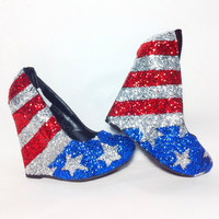 Glitter 4th of July Wedge Pump