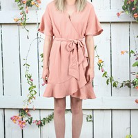 Fresh Air Ruffle Wrap Dress {Blush}