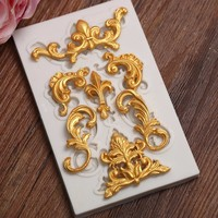 Baroque retro relief Ornate Leaf Frame Mould Victorian Scrollwork Flourish Silicone Molds Resin Fondant Mould for Wedding Cake