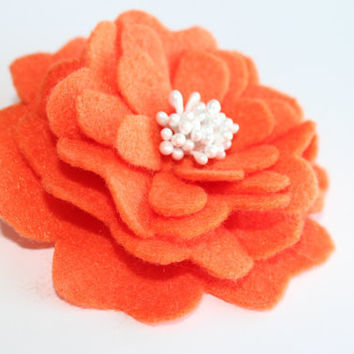 Handmade felt brooch pin orange flower with white center fabric