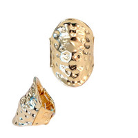 Trendy Gold Hammered Stretch Ring