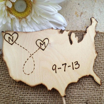 Wedding Cake Topper in the shape of the USA with YOUR States in a Heart and Your Initials and Wedding Date Large Wedding Decoration