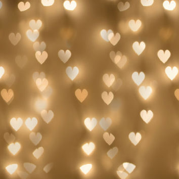 Holiday Lights Overlay, Bokeh Hearts Photo Overlay, Large Bokeh Overlay, Gold Hearts Photography Prop, Hearts Background, Hearts backdrop