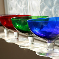 CLEARANCE Sale......Set of 4 Colorful Sherbert, Ice Cream Glass Dishes, Jewel Tone Glasses.