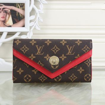 """Louis Vuitton"" Women Wallet Fashion Retro Multicolor Logo Letter Print Long Section Double Layer Flip Clutch Purse"