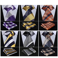 Men's Plaid Wide Neckties & Handkerchiefs Collection - Multiple Styles