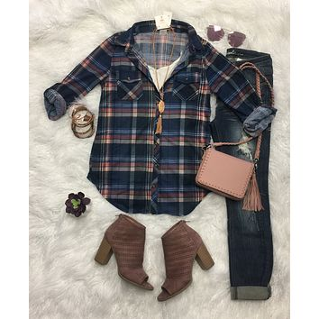 Penny Plaid Flannel Top: Navy/Blush