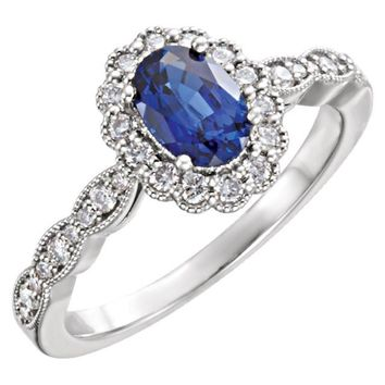 14kt White Gold Oval Chatham® Blue Sapphire & Diamond Halo Ring