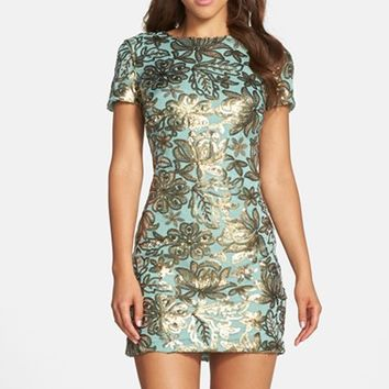 Women's Dress the Population 'Beverly' Sequin Chiffon Minidress,
