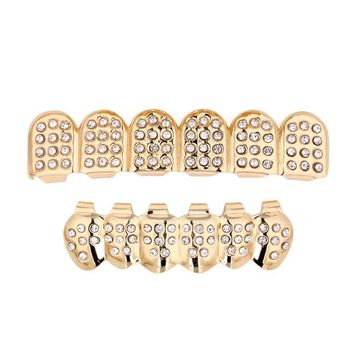 1 Set Gold Plated Hip Hop Teeth Grillz Top & Bottom Grill Teeth Grills Fashion Bling dental laboratory equipment dental braces