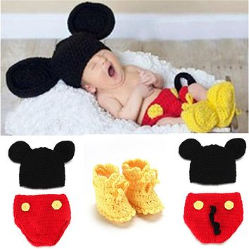 Mickey Design Crochet Baby Hats Pants Shoes Set for Photo Props Knitted Newborn Baby Clothing Set Crochet BABY Costume MZS-14016