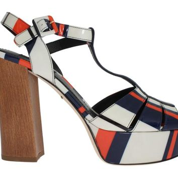 Multicolor Leather Ankle Strap Sandals
