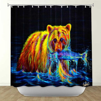 Colorful Grizzly Bear Shower Curtain - Night of the Grizzly by Teshia