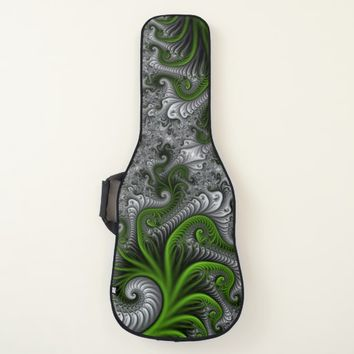 Fantasy World Green And Gray Abstract Fractal Art Guitar Case