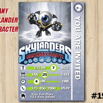 Skylanders invitation Trap Team Skylanders card birthday party custom printable file DIY(#192)